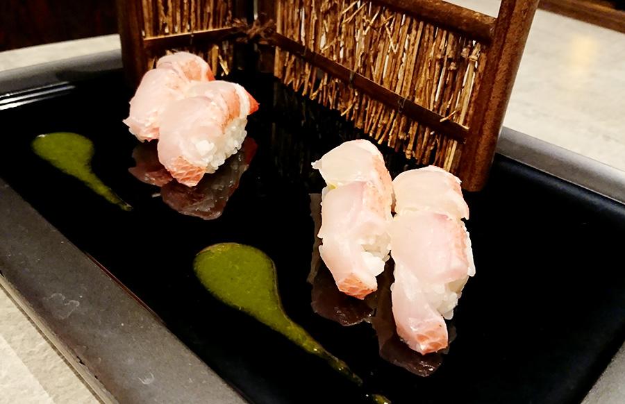夕食 金目鯛の握り
