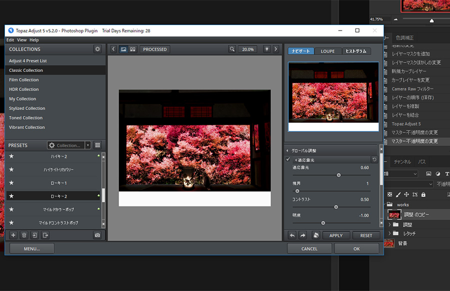 Photoshop フォトショップ レタッチ Topaz Adjust 仕上げる