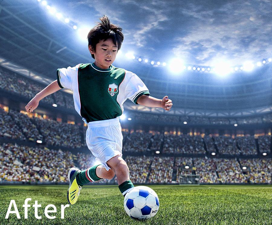 サッカー少年 合成 After