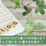ネットショップのブログで書くべき内容とは?半年で売上2倍になった書き方を紹介!